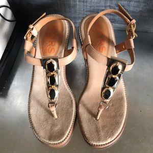 Kors Michael Kors Gold thong wedge sandals